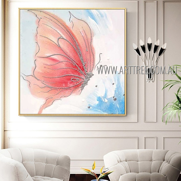 Pink Butterfly Animal Insect Heavy Texture Artist Handmade Modern Artwork For Room Wall Moulding