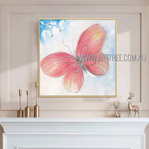 Flying Painted Lady Animal Insect Heavy Texture Artist Handmade Modern Painting For Room Wall Adornment