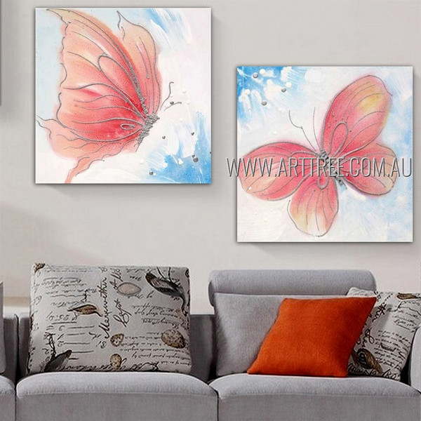 Two Flying Butterflies Animal Insect Modern Heavy Texture Artist Handmade 2 Piece Multi Panel Wall Painting For Room Flourish