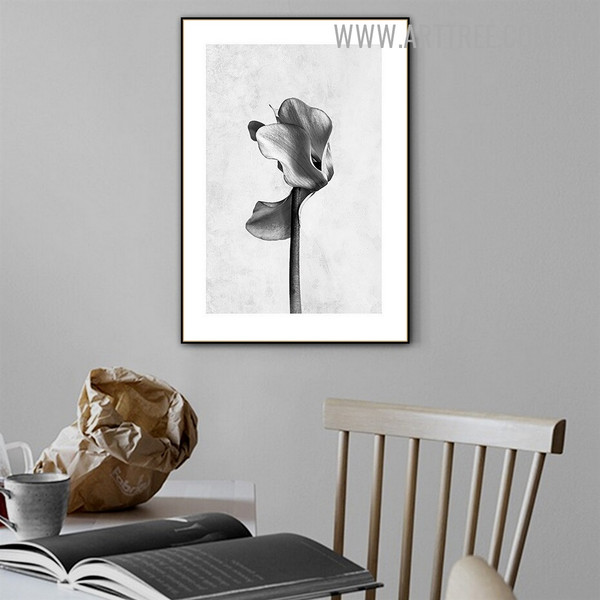 Black And White Bloom Abstract Floral Painting Photo Retro Canvas Print for Room Wall Finery