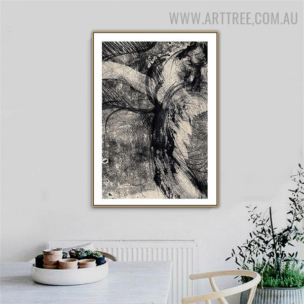 Black Blurs Retro Abstract Artwork Photo Canvas Print for Room Wall Assortment