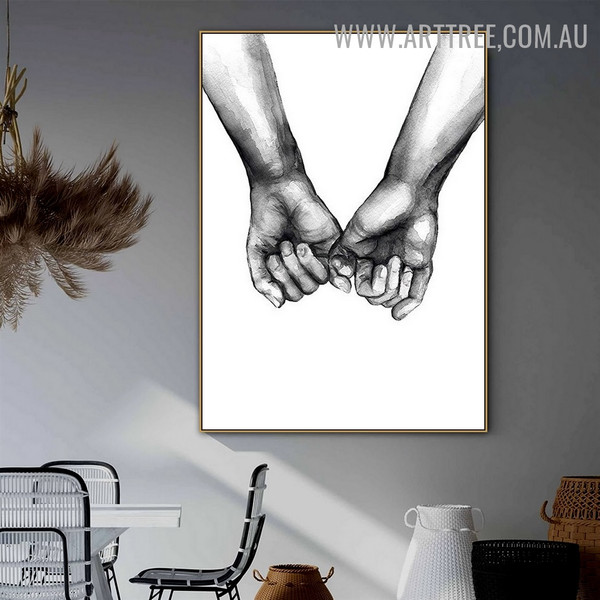 Hand Kiss Abstract Retro Figure Artwork Photo Canvas Print for Room Wall Ornament
