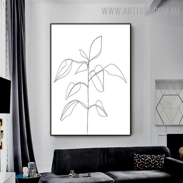 Line Foliage Vintage Floral Pic Abstract Art Canvas Print for Room Wall Tracery