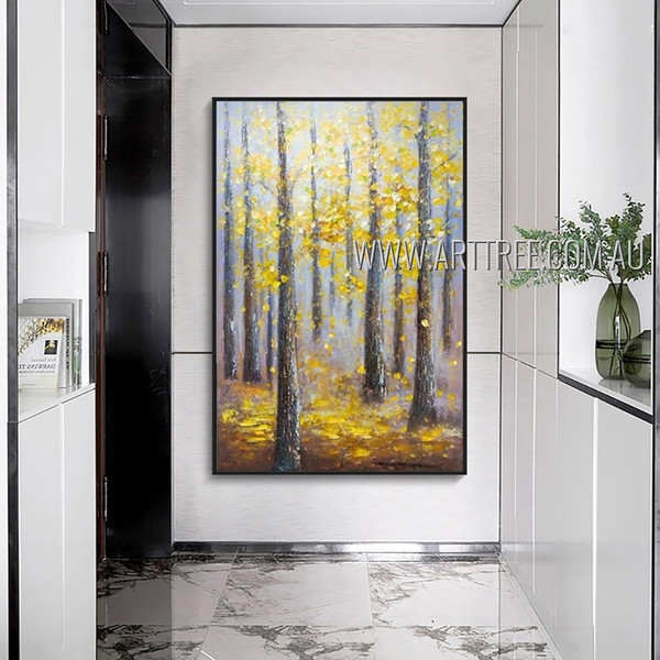 Yellow Leaves Trees Abstract Modern Heavy Texture Artist Handmade Framed Contemporary Art Painting For Room Equipment