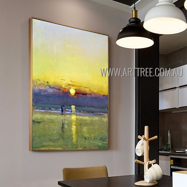 Sunset With Reflection Abstract Modern Heavy Texture Artist Handmade Acrylic Landscape Painting For Room Garnish