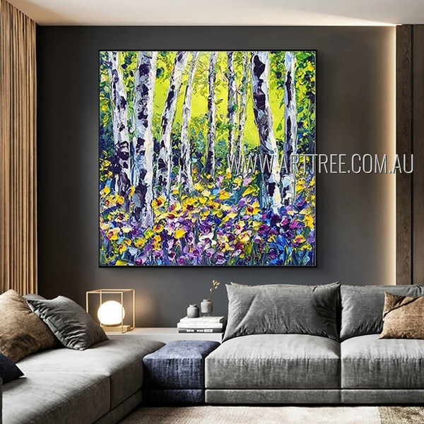 Floral Plants Modern Nature Heavy Texture Artist Handmade Abstract Landscape Painting For Room Adornment