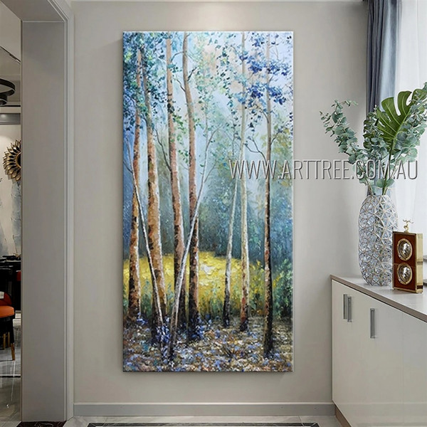 Amazing Woodland Landscape Modern Heavy Texture Artist Handmade Scenery Painting For Room Decoration