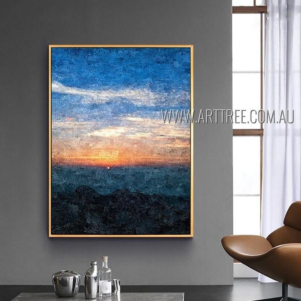 Weird Sunset Landscape Modern Heavy Texture Artist Handmade Beautiful Paintings Of Nature For Room Drape