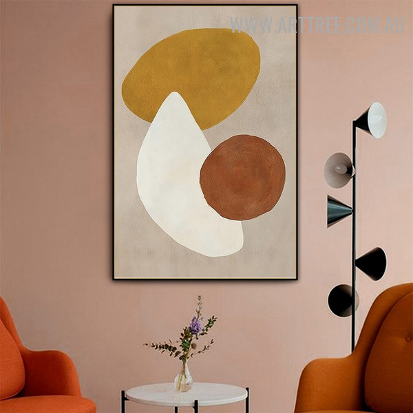 Circular Slurs Circles Geometric Vintage Picture Abstract Canvas Print for Room Wall Garniture