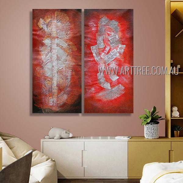 Daubs Design Abstract Modern Heavy Texture Artist Handmade 2 Piece  Multi Panel Canvas Painting Wall Art Set For Room Getup