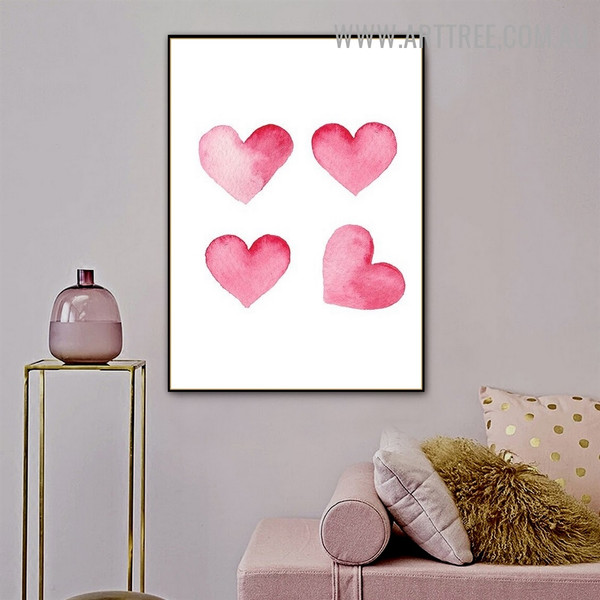 Pink Heart Abstract Minimalist Watercolor Painting Photo Canvas Print for Room Wall Moulding