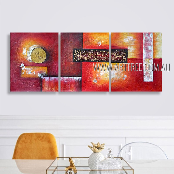 Colorful Geometric Design Abstract Modern Heavy Texture Artist Handmade 3 Piece Multi Panel Canvas Painting Wall Art Set For Room Décor