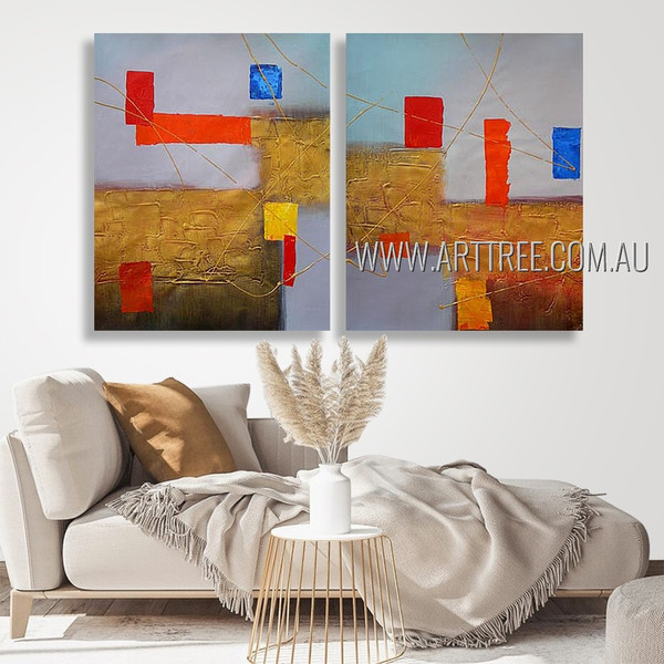 Chequered Flaws Abstract Modern Heavy Texture Artist Handmade 2 Piece Multi Panel Wall Painting Art Set For Room Equipment