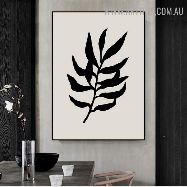 Black Leaves Abstract Scandinavian Floral Painting Image Canvas Print for Room Wall Outfit