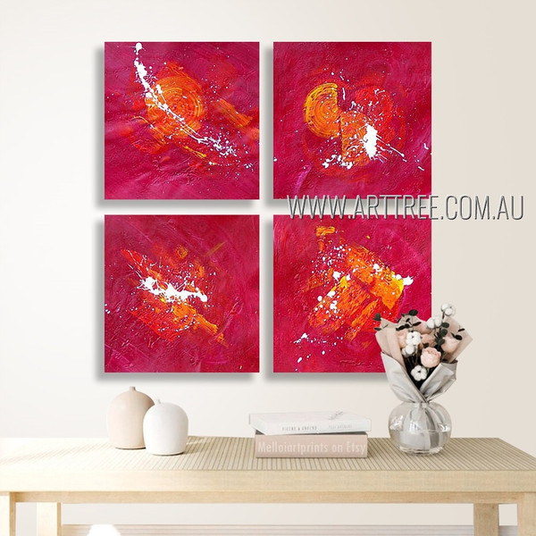 Dapple Splotches Abstract Modern Heavy Texture Artist Handmade 4 Piece Multi Panel Canvas Oil Painting Wall Art Set For Room Onlay
