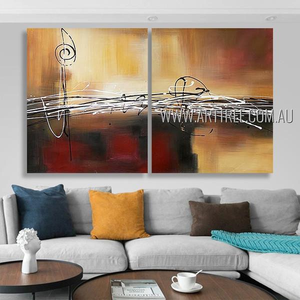 Circumlocutory Stripes Abstract Modern Heavy Texture Artist Handmade 2 Piece Split Panel Painting Wall Art Set For Room Getup