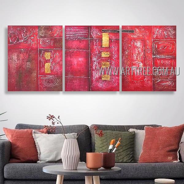 Twisting Design Modern Heavy Texture Artist Handmade 3 Piece Multi Panel Abstract Painting Wall Art Set Room Adornment