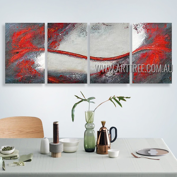 Red Streak Design Abstract Contemporary Heavy Texture Artist Handmade 4 Piece Multi Panel Canvas Oil Painting Wall Art Set For Room Equipment