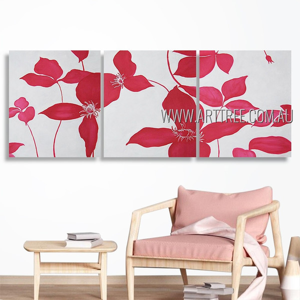 Pink Petal Blossoms Abstract Floral Artist Handmade 3 Piece Multi Panel Canvas Oil Painting Wall Art Set For Room Outfit