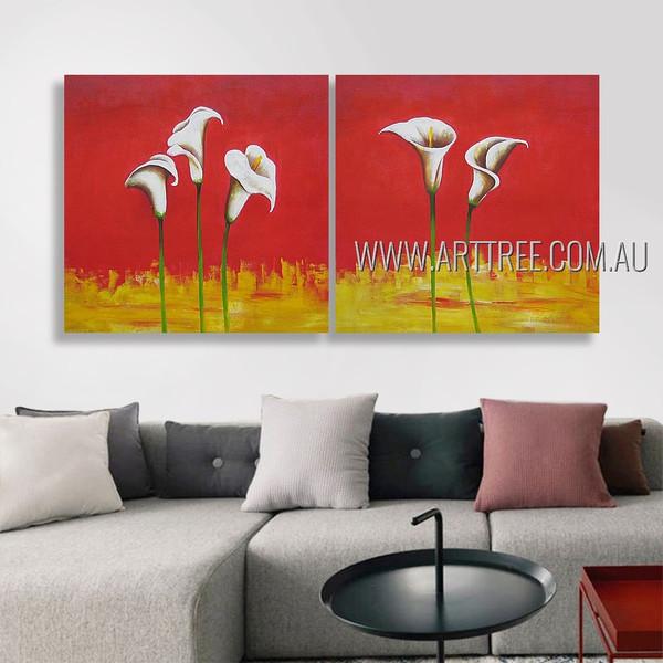 Arum Lilies Floral Modern Artist Handmade 2 Piece Split Canvas Paintings Wall Art Set For Room Equipment