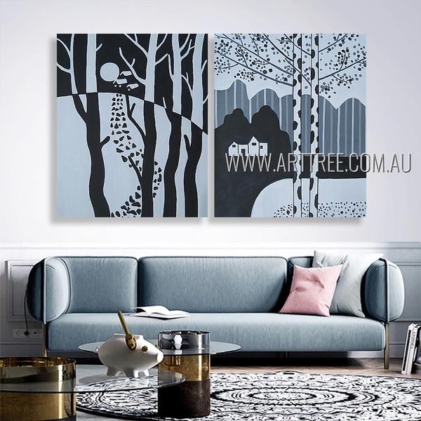 Amazing Village Landscape Modern Artist Handmade 2 Piece Multi Panel Canvas Oil Painting Wall Art Set For Room Drape