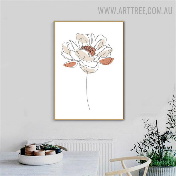 Peony Line Bloom Flower Abstract Art Pic Scandinavian Floral Canvas Print for Room Wall Arrangement