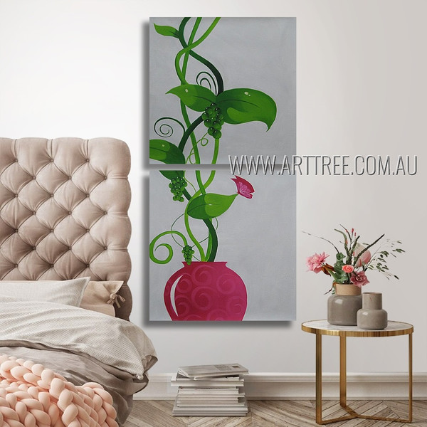 Grapes Plants Animal Botanical Modern Artist Handmade 2 Piece Multi Panel Canvas Oil Painting Wall Art Set For Room Garnish