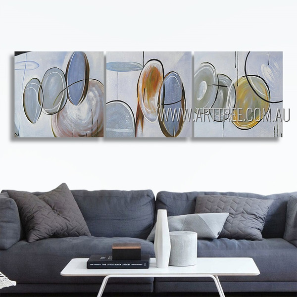 Tortuous Tarnishes Abstract Modern Artist Handmade 3 Piece Split Canvas Paintings Wall Art Set For Room Tracery