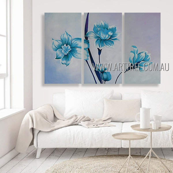 Blue Flowers Floral Modern Heavy Texture Artist Handmade 3 Piece Multi Panel Oil Paintings Wall Art Set For Room Wall Decoration