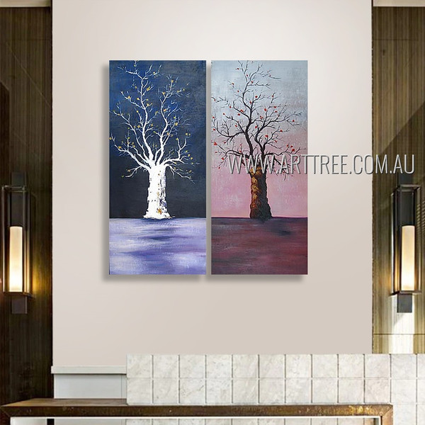 Amazing Trees Abstract Landscape Fantasy Modern Heavy Texture Artist Handmade 2 Piece Multi Panel Painting Wall Art Set For Room Wall Adornment