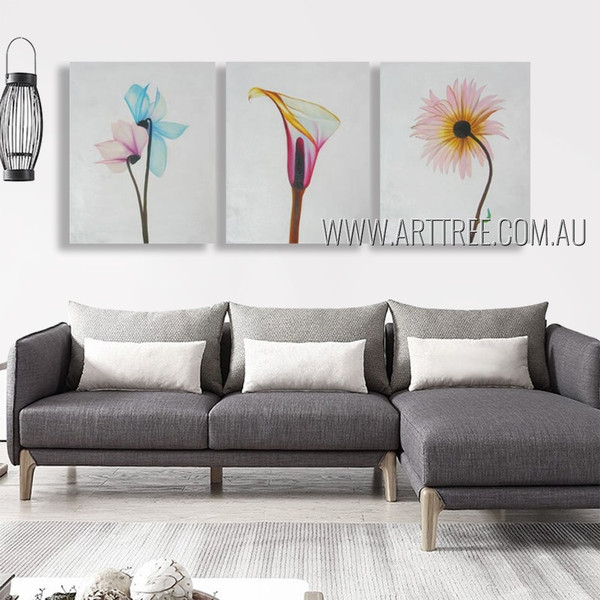 Colorful Arum Lily Floral Abstract Modern Heavy Texture Artist Handmade 3 Piece  Multi Panel Painting Wall Art Set For Room Onlay