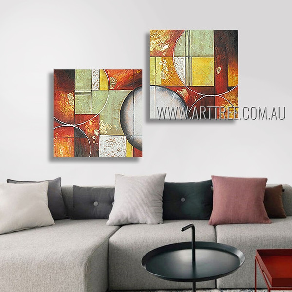 Spheric And Square Abstract Modern Heavy Texture Artist Handmade 2 Piece Multi Panel Wall Art Paintings Set For Room Decor
