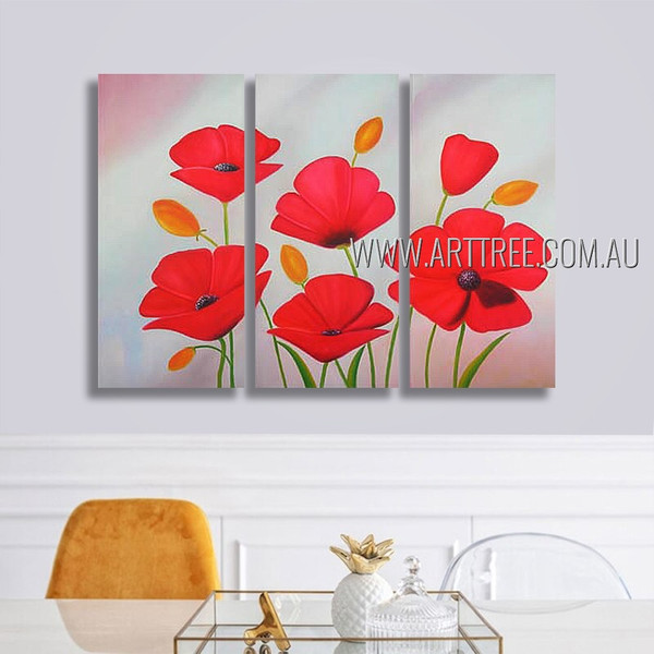 Flowers With Buds Floral Modern Heavy Texture Artist Handmade 3 Piece Multi Panel Painting Wall Art Set For Room Trimming