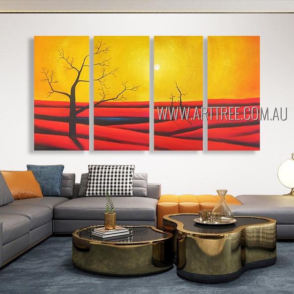 Desert Landscape Modern Heavy Texture Artist Handmade 4 Piece Multi Panel Painting Wall Art Set For Room Moulding