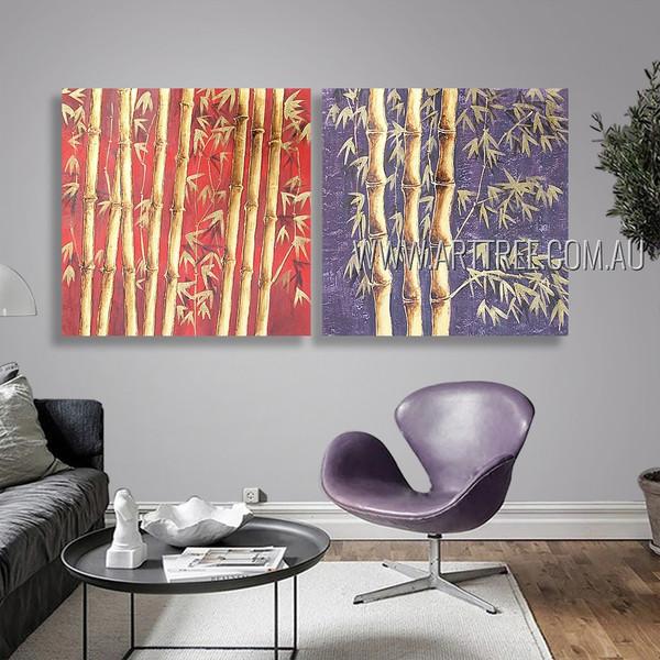 Bamboo Trees Botanical Modern Heavy Texture Artist Handmade 2 Piece Multi Panel Oil Paintings Wall Art Set For Room Adornment