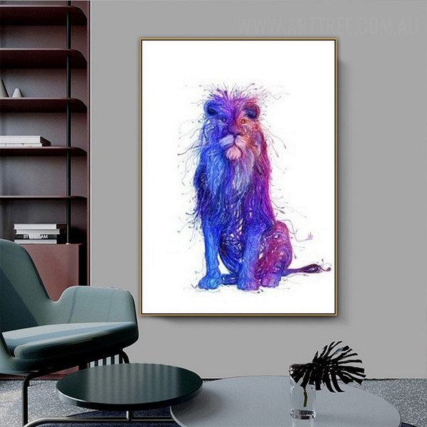 Blue Wild Lion Modern Artwork Picture Abstract Animal Canvas Print for Room Wall Ornament