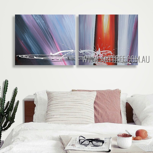 Colorful Mackles Abstract Modern Heavy Texture Artist Handmade 2 Piece Split Oil Painting Wall Art Set For Room Décor