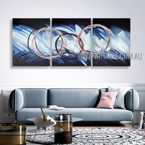 Wiggly Patches Abstract Modern Heavy Texture Artist Handmade 3 Piece Multi Panel Painting Wall Art Set For Room Decor