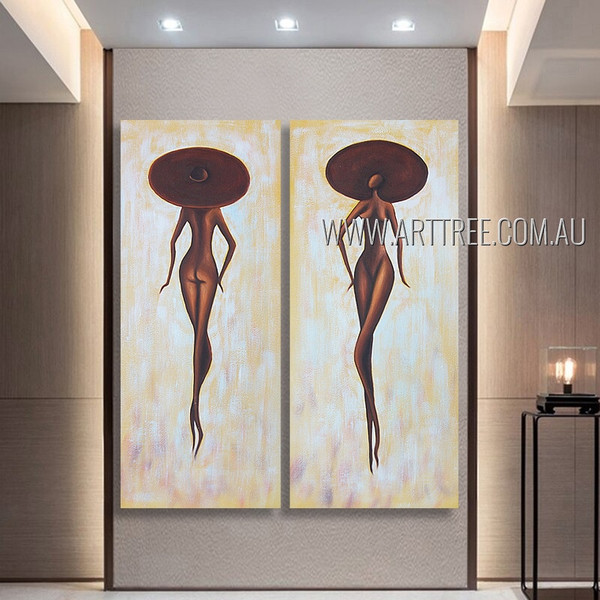 Nude African Girls Figure Vintage Heavy Texture Artist Handmade 2 Piece Multi Panel Abstract Painting Wall Art Set For Room Getup