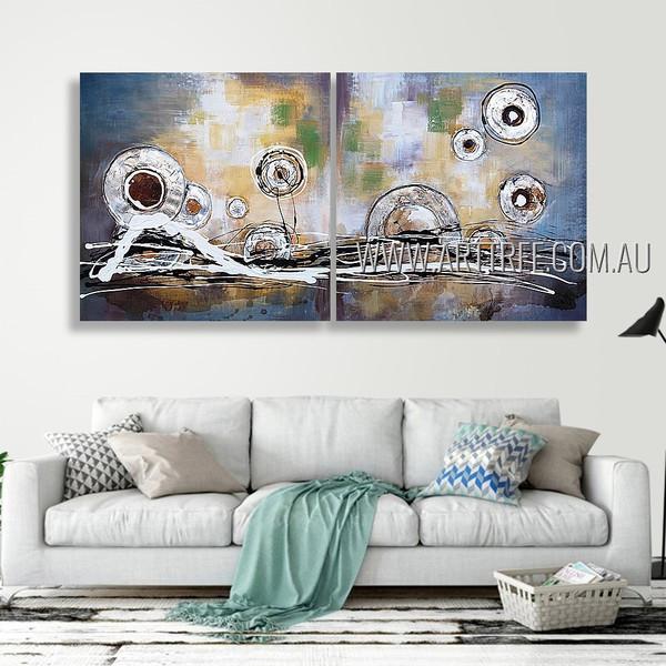 Meandering Flecks Design Abstract Modern Heavy Texture Artist Handmade 2 Piece Multi Panel Oil Paintings Wall Art Set For Room Décor