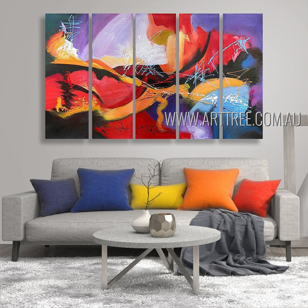 Calico Stains Abstract Modern Heavy Texture Artist Handmade 5 Piece Multi Panel Canvas Oil Painting Wall Art Set For Room Getup
