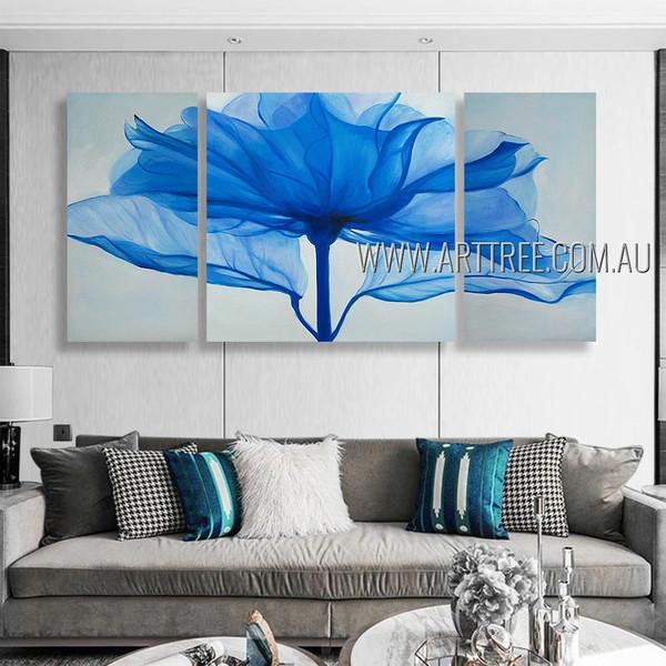 Blue Petal Bloom Floral Modern Heavy Texture Artist Handmade 3 Piece Multi Panel Oil Paintings Wall Art Set Room Decoration