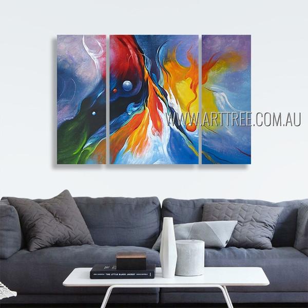 Colorific Daubs Abstract Modern Heavy Texture Artist Handmade 3 Piece Multi Panel Painting Wall Art Set Room Decoration