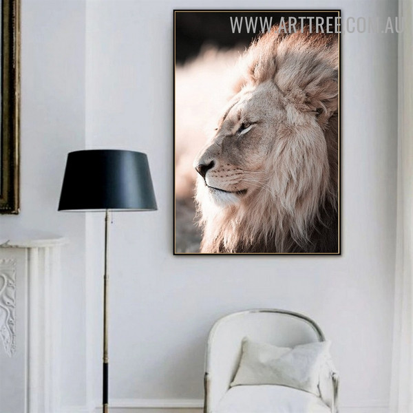 Real Lion Animal Abstract Modern Painting Picture Canvas Print for Room Wall Disposition