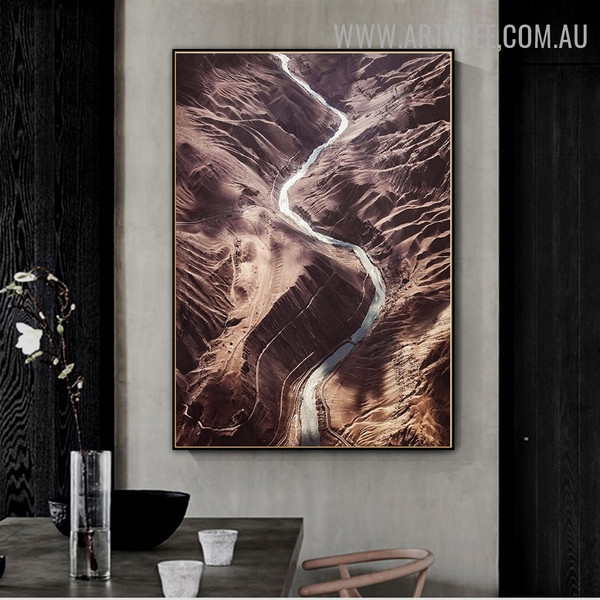 Sandy Hills Abstract Artwork Landscape Modern Picture Canvas Print for Room Illumination