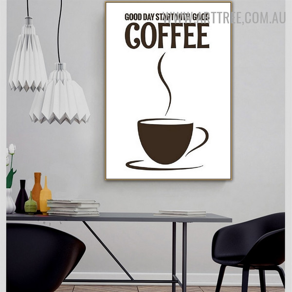 Good Day Coffee Cup Quotes Abstract Contemporary Artwork Image Canvas Print for Room Wall Outfit