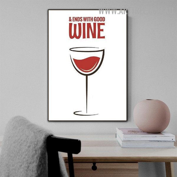 Good Wine Abstract Quotes Artwork Picture Modern Canvas Print for Room Wall Finery