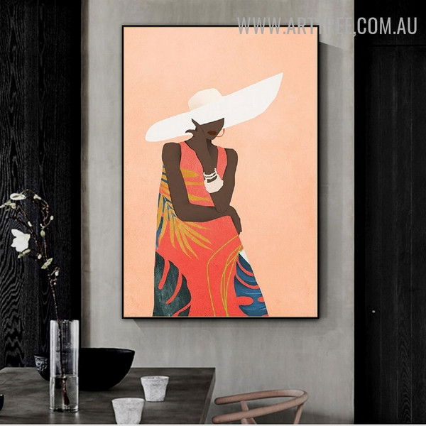 Female Hat Bangles Abstract Figure Scandinavian Painting Picture Canvas Print for Room Wall Outfit