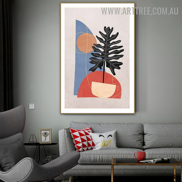 Sphere Tree Spots Geometric Scandinavian Wall Art Picture Abstract Canvas Print for Room Flourish