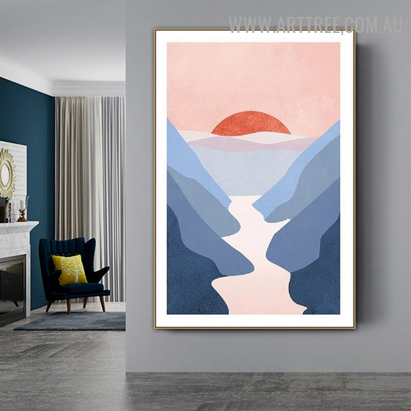 Hills Way Sun Abstract Scandinavian Naturescape Artwork Picture Canvas Print for Room Wall Onlay